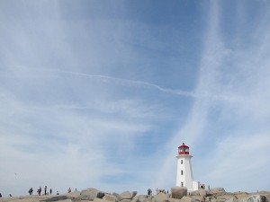 Big blue skies above Peggy's Cove.