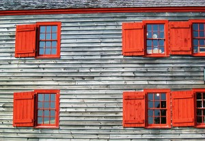 Red windows on a building in Shelburne.