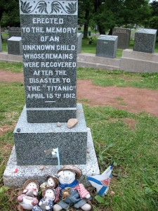 The grave of an unknown child who died in the Titanic disaster and was buried in Halifax.