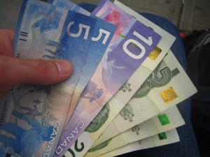 Colourful Canadian money is used in Nova Scotia