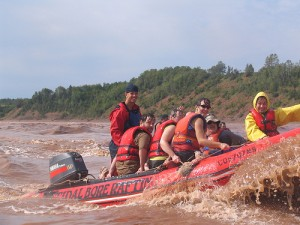 Riding the waves of the tidal bore is fun but wet!