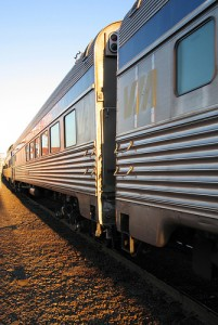 A VIA rail train in Nova Scotia